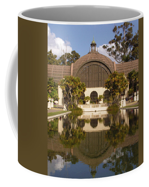 Botanical Building Coffee Mug featuring the photograph Reflection/lily Pond, Balboa Park, San Diego, California by Denise Strahm