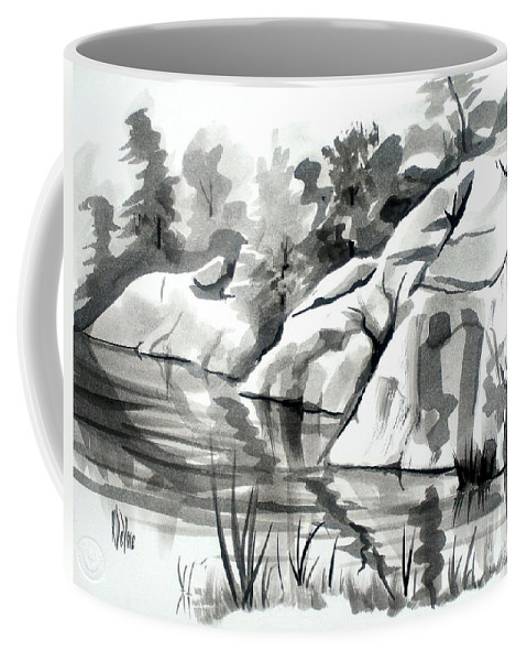 Reflections At Elephant Rocks State Park No I102 Coffee Mug featuring the painting Reflections at Elephant Rocks State Park No I102 by Kip DeVore