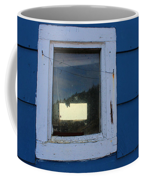 Reflections In A Shed Window Coffee Mug featuring the photograph Reflections In A Shed Window - Curiosity - Fishing by Barbara Griffin