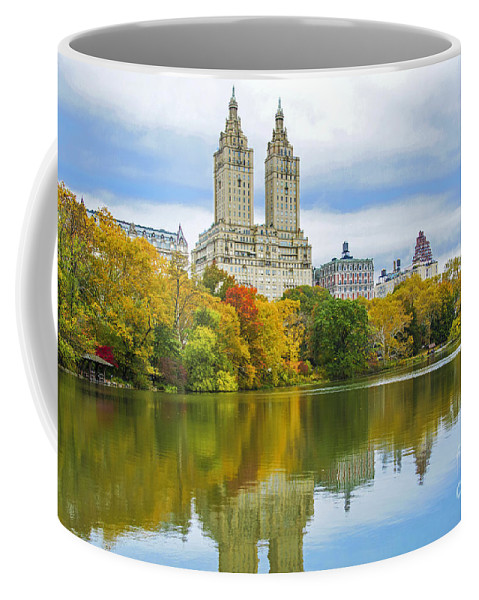 Central Park Lake Autumn Coffee Mug featuring the photograph Reflections Of Autumn Central Park Lake by Regina Geoghan
