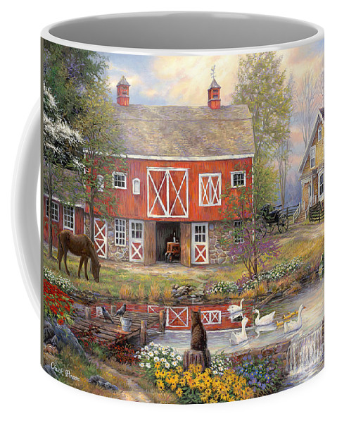 Americana Coffee Mug featuring the painting Reflections on Country Living by Chuck Pinson