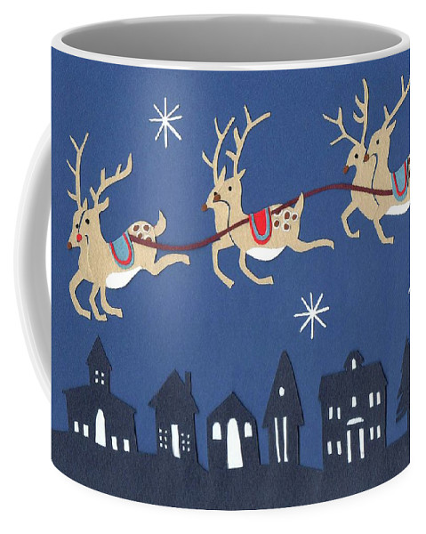 Reindeer Coffee Mug featuring the painting Reindeer by Isobel Barber