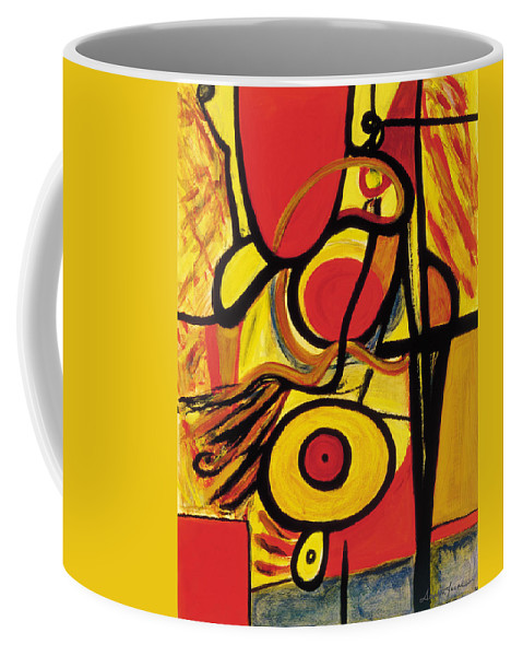 Abstract Art Coffee Mug featuring the painting Relativity 2 by Stephen Lucas