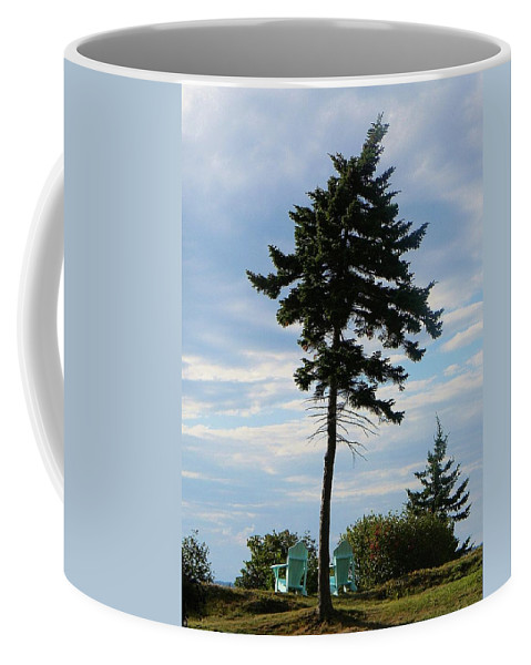 Adirondack Chairs Coffee Mug featuring the photograph Relaxing By The Sea Greeting Card by Jean Goodwin Brooks