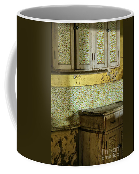 Farm House; Old Fashioned; Kitchen; Vintage; Old; Cabinets; Cupboards; Interior; Worn; Wallpaper; Dirty; Grungy; Gross; Painted; Floral; Flower; Pattern; Empty; Disrepair; Counter; Wall; House; Home; No One; Still Life; Inside; Indoors Coffee Mug featuring the photograph Remodel by Margie Hurwich