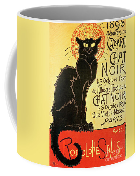 Paris Coffee Mug featuring the painting Reopening of the Chat Noir Cabaret by Theophile Alexandre Steinlen