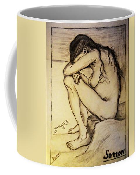 Replica Of Vincent's Drawing: Sorrow Coffee Mug featuring the photograph Replica Of Vincent's Drawing - Sorrow by Jose A Gonzalez Jr