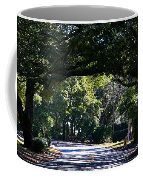 Street Coffee Mug featuring the photograph Residential Street St Simons Island by Kathryn Meyer
