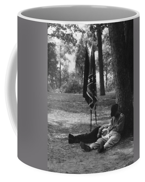 Black And White Coffee Mug featuring the photograph Resting At Gettysburg by Eric Liller