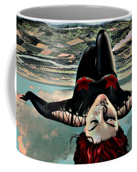 Woman Coffee Mug featuring the mixed media Resting On Clouds by Udo Linke