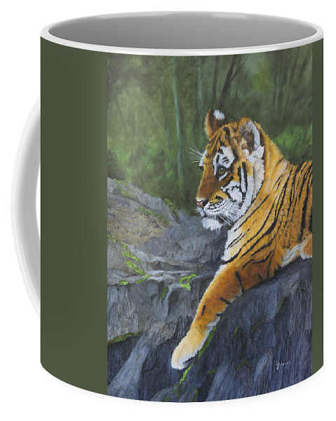 Tiger Coffee Mug featuring the painting Resting Place - Tiger Cub by Johanna Lerwick