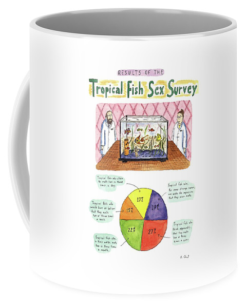 Animals Coffee Mug featuring the drawing Results Of The Tropical Fish Sex Survey 17% by Roz Chast