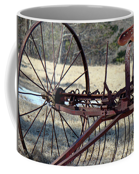 Farm Coffee Mug featuring the photograph Retired Hay Rake by Mother Nature