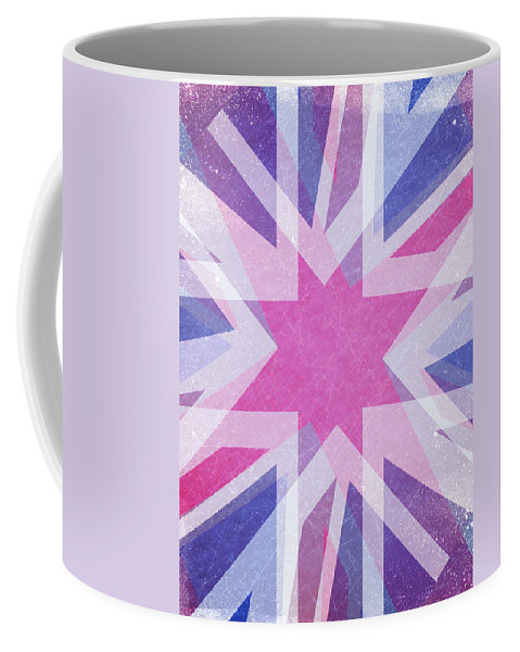 Christmas; Snow; Background; Cold; Festive; Lights; Sunburst; Sun; Holiday; Abstract; Background; Celebrate; Celebration; Excitement; Festive; Fun; Holiday; Light; Merry; Seasonal; Sparkle; Star; Starburst; Surprise; Purple; Pink; Cosy; Blue; Romantic; Xmas; Flash; Burst; Explosion; Blast Coffee Mug featuring the digital art Retro Explosion 4 by Steve Ball