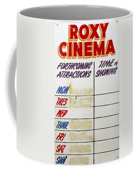 Roxy Coffee Mug featuring the photograph Retro Roxy Cinema Sign by Steve Ball