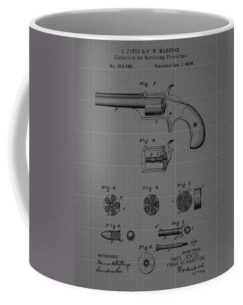 Firearm Extractor Blueprint Patent Coffee Mug featuring the drawing Revolver Firearm Patent Blueprint Drawing by Dan Sproul