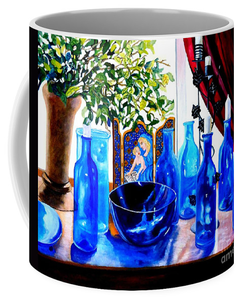 Still-life Coffee Mug featuring the painting Rhapsody In Blue by Caroline Street