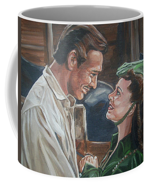 Gone With The Wind Coffee Mug featuring the painting Rhett And Scarlett by Bryan Bustard