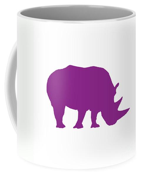 Graphic Art Coffee Mug featuring the digital art Rhino In Purple by Jackie Farnsworth