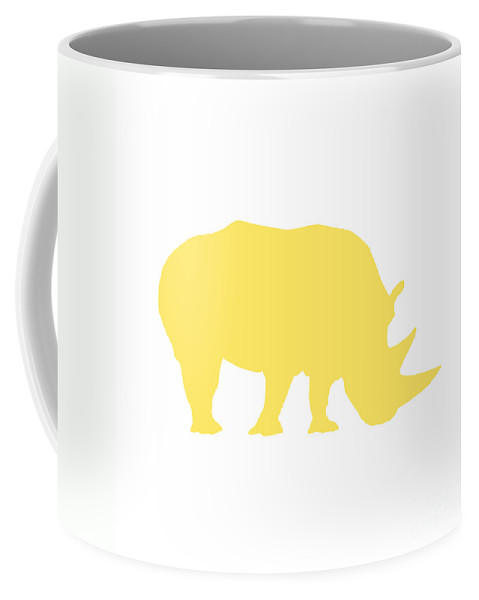 Graphic Art Coffee Mug featuring the digital art Rhino In Yellow And White by Jackie Farnsworth