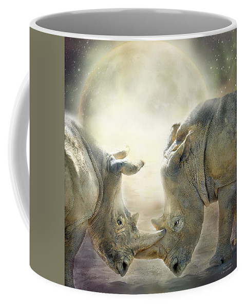Rhino Coffee Mug featuring the mixed media Rhino Love by Carol Cavalaris