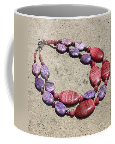Original Handmade Jewelry Coffee Mug featuring the jewelry Rhodonite And Crazy Lace Agate Double Strand Chunky Necklace 3636 by Teresa Mucha