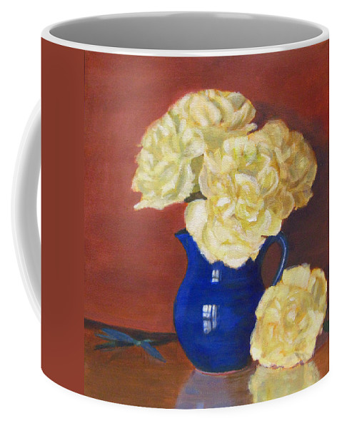 Peonies Coffee Mug featuring the painting Rich Peonies by Robie Benve
