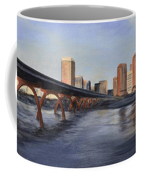 Richmond Coffee Mug featuring the painting Richmond Virginia Skyline by Donna Tuten