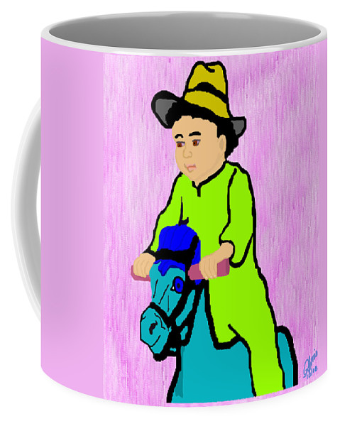 Toddler Coffee Mug featuring the drawing Ride The Horsey by Pharris Art