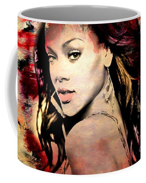 Rihanna Coffee Mug featuring the painting Rihanna by Mark Ashkenazi