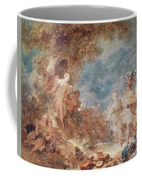 Lovers Coffee Mug featuring the photograph Rinaldo In The Gardens Of Armida Oil On Canvas See Also 250309 by Jean-Honore Fragonard