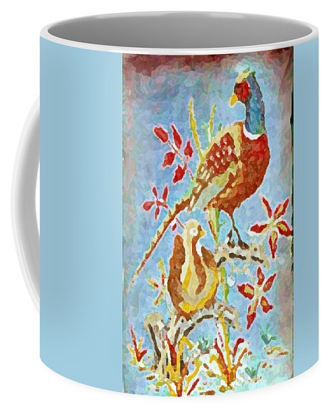 Thanksgiving Pheasants Coffee Mug featuring the painting Ringneck Pheasants by Gail Daley