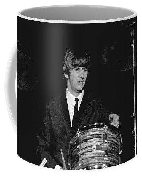 Beatles Coffee Mug featuring the photograph Ringo Starr, Beatles Concert, 1964 by Larry Mulvehill