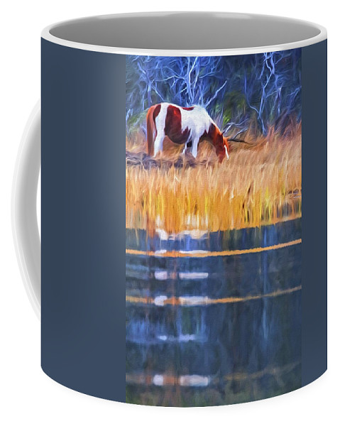 Chincoteague Pony Coffee Mug featuring the photograph Rippled Reflection by Alice Gipson