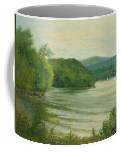 Hudson River Coffee Mug featuring the painting Ripples At Garrison Landing by Phyllis Tarlow