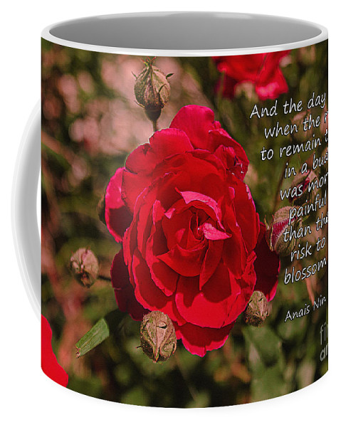 Rose Coffee Mug featuring the photograph Risk To Blossom by Janice Pariza