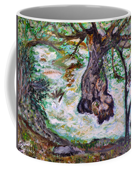 River Coffee Mug featuring the painting River And Plane Tree by Augusta Stylianou