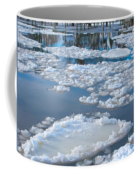 Ice Coffee Mug featuring the photograph River Ice by Ann Horn