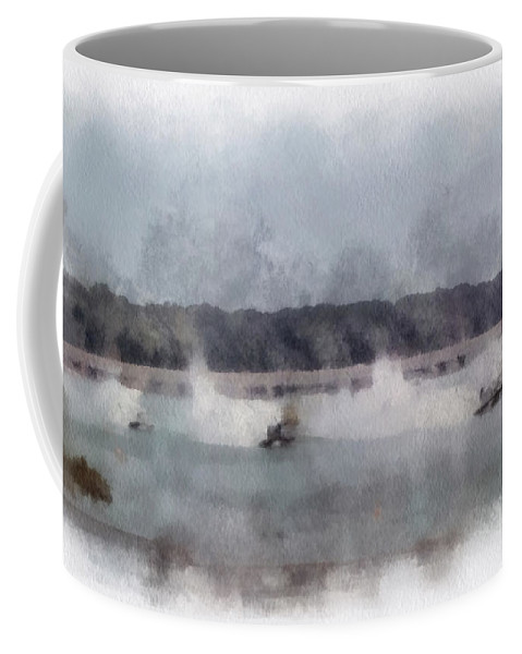 River Racing Coffee Mug featuring the photograph River Speed Boat Racing Photo Art by Thomas Woolworth