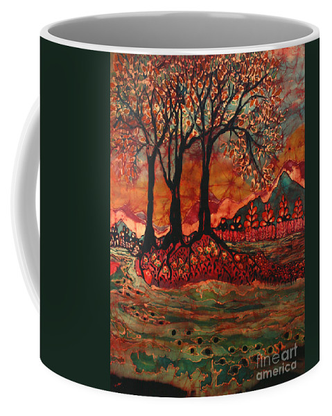 Landscape Coffee Mug featuring the tapestry - textile River Sunrise - Lothlorien by Carol Law Conklin