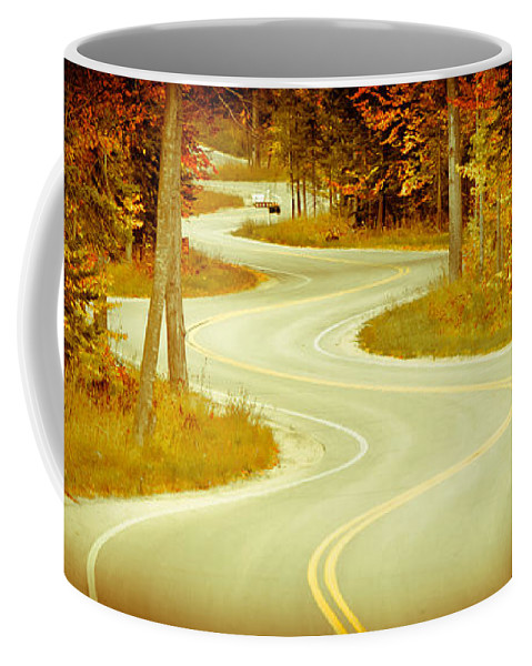 Door County Coffee Mug featuring the photograph Road Bending Through The Trees by Ever-Curious Photography