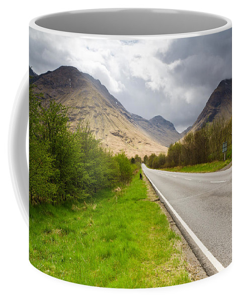 Atmospheric Coffee Mug featuring the photograph Road Into Glen Coe by David Head