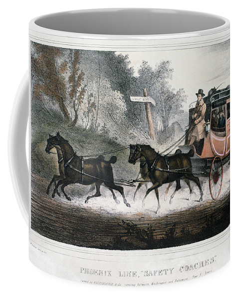 1830 Coffee Mug featuring the painting Road Travel/stagecoach by Granger