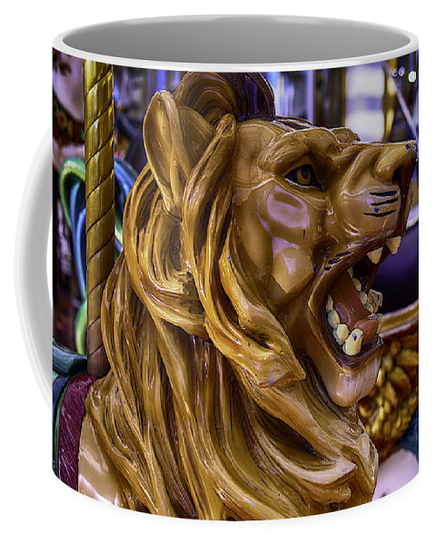Magical Carousels Coffee Mug featuring the photograph Roaring Lion Ride by Garry Gay