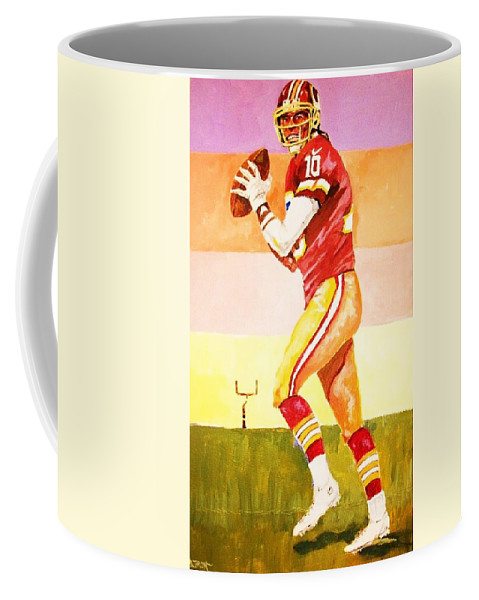 Football Coffee Mug featuring the painting Quarterback In Motion by Al Brown
