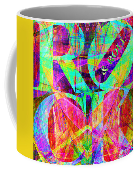 Abstract Coffee Mug featuring the digital art Rock And Roll 20130708 Fractal by Wingsdomain Art and Photography