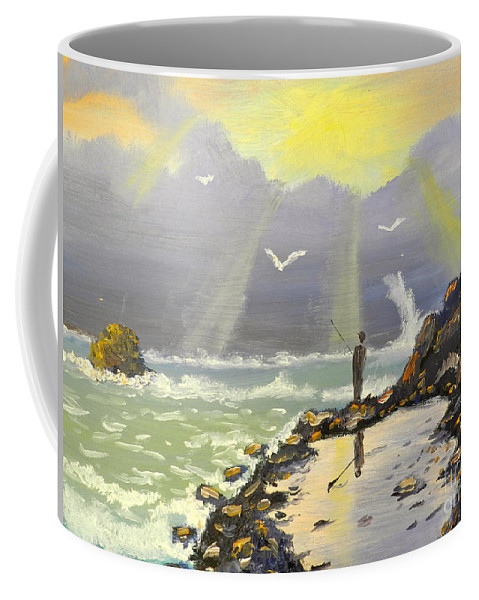 Impressionism Coffee Mug featuring the painting Rock Fishing At Wombarra by Pamela Meredith