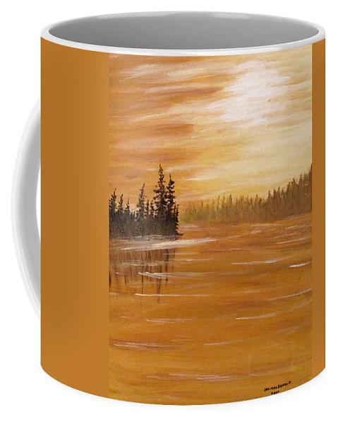 Northern Ontario Coffee Mug featuring the painting Rock Lake Morning 1 by Ian MacDonald