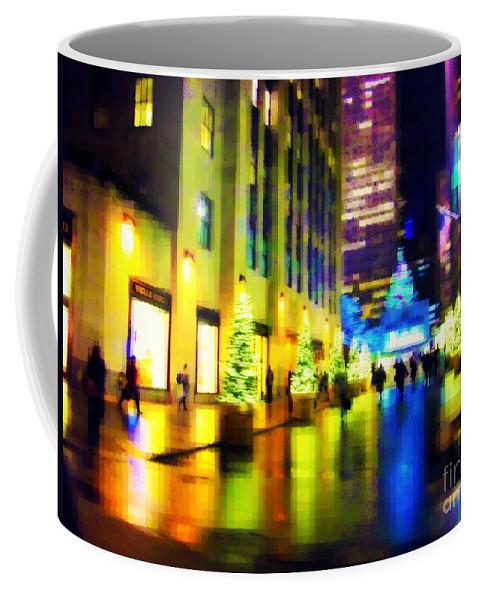 Rockefeller Center Coffee Mug featuring the photograph Rockefeller Center Christmas Trees - Holiday And Christmas Card by Miriam Danar