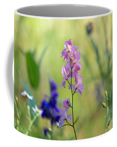 Rocket Coffee Mug featuring the photograph Rocket Larkspur by Louise Heusinkveld